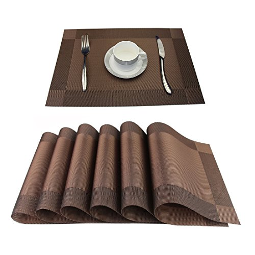 BlanceEG Table Placemats Set of 6, Non-Slip Washable Heat Resistant Brown Table Mats Dining Table Kitchen Table 12×18 inch (Brown, 6 Pack)