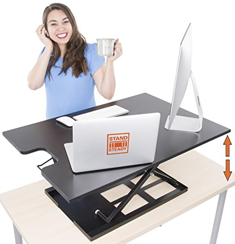 Standing Desk X-Elite XL – Stand Steady Standing Desk | X-Elite Larger Version, Instantly Convert Any Desk into a Sit / Stand up Desk, Height-Adjustable, Fully Assembled (XL 36'', Black) by Stand Steady