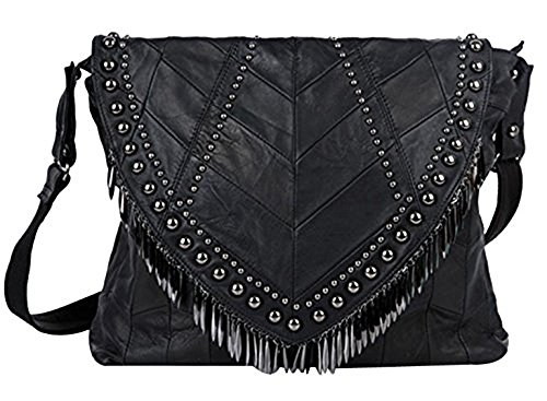 Rivets Studded Shoulder Bag Fringe Beads Leather Handbag Womens Crossbody Bookbag Tote-Pulama (Size S)