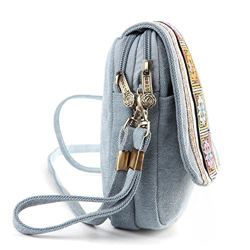 Blue Cell Light Goodhan Purse for Basic A001 Embroidery Size Canvas Crossbody phone Pouch Women Girls Coin Bag IqpIa