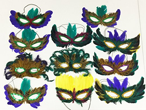 GIFTEXPRESS Mardi Gras Masks Perfect for Mardi Gras party/Masquerade themed party/fat Tuesday/Wedding reception/Anniversary part/Musical Cinderella/photo booth accessory/costume (Mardi Gras Pictures Costumes)