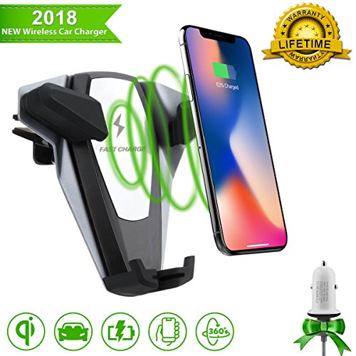 Wireless Car Charger,Qi Fast Charger Car Mount,Car Wireless Charing Mount Air Vent Phone Holder with QC 3.0 Plug for iPhone X 8/8 Plus, Samsung Galaxy S8, S7,S6/S7 Edge, Note 8 5 All Qi Enabled Device by OCTING