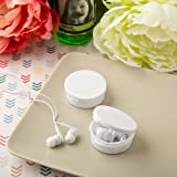 96 Perfectly Plain White Plastic Ear Bud Headphones with Case