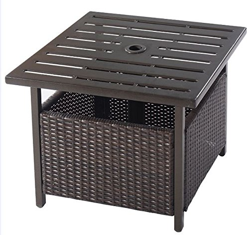 K&A Company Patio Side Table Outdoor Furniture Resin Fold Adams Quik Deck Storage Box Stand Garden Lounge