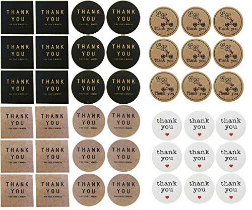 Thank You Stickers Round Square Black Vintage Brown Kraft Paper Labels for Envelope Seal Baby Shower Wedding Birthday Party Baking Food Card Christmas Gift Present Package Wrap 168PCS