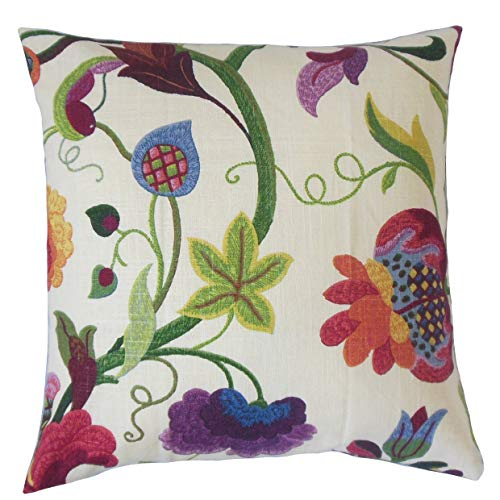 (The Pillow Collection Hesperia Floral Bedding Sham Red Jade Euro/26