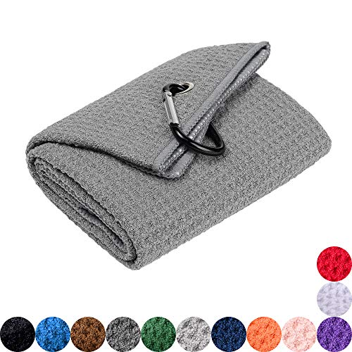 (Mile High Life Tri-fold Golf Towel | Premium Microfiber Fabric | Waffle Pattern | Heavy Duty Carabiner Clip (Gray/Black))