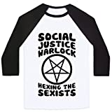 LookHUMAN Social Justice Warlock White/Black Medium Mens/Unisex Baseball Tee