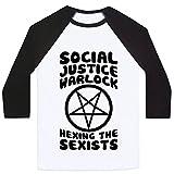 LookHUMAN Social Justice Warlock White/Black Medium Mens/Unisex Baseball Tee