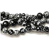 Strand Of 45+ Black/White Snowflake Obsidian 8mm Plain Round Beads - (GS1656-3) - Charming Beads