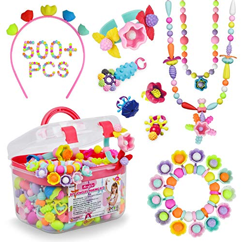 Pop Beads - 500+Pcs DIY Jewelry Making Kit for Toddlers 3, 4, 5, 6, 7 ,8 Year Old, Kids Pop Snap Beads Set to Make Hairband, Necklaces, Bracelets, Rings and Art & Crafts Creativity Toys for Girls Boys]()