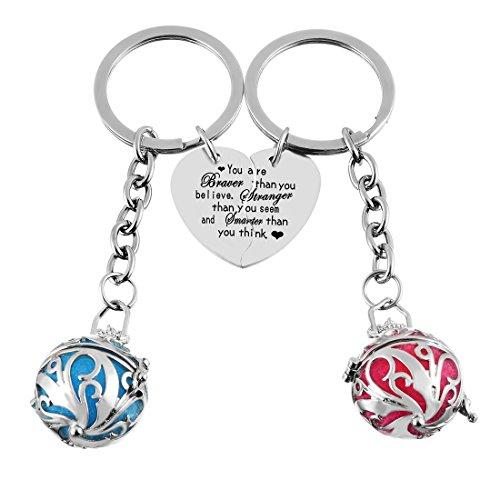 MJartoria Split Heart Aromatherapy Essential Oil Diffuser Locket Key Chain Ring Set (color1)