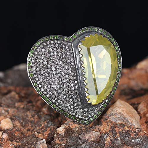 (Genuine 0.55 Ct. Pave Diamond Tsavorite & Lemon Quartz Heart Shape Ring Solid 925 Silver Handmade Wedding Jewelry Christmas Gift)