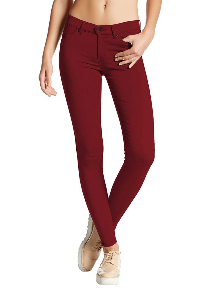 Romacci Women Skinny Pants Solid High Waist Stretch Comfy Pants Casual Slim Trousers