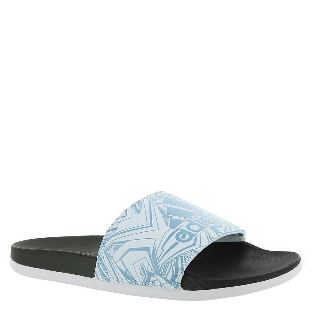 adidas Women's Adilette Comfort Slide Sandal, Ash Blue/Aero Blue/Black, 8 M US
