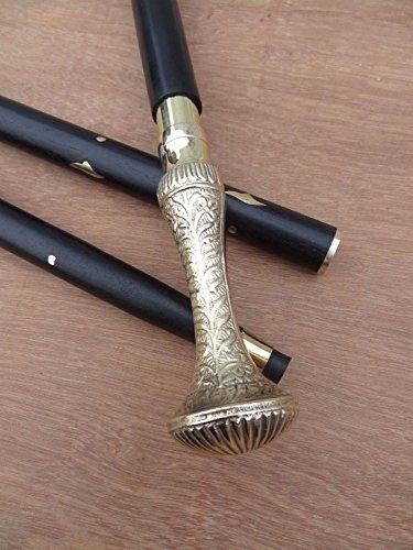 HANDMADE VINTAGE ART Walking Stick Victorian solid Brass Handle Designer Canes Antique Wooden Vintage Cane(man & woman) (Designer Antique Brass)