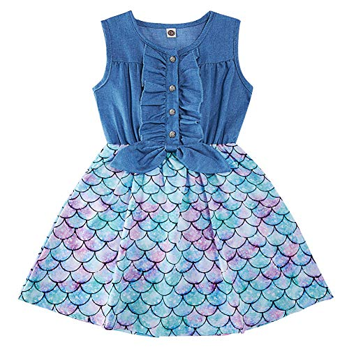 Enlifety Little Girls Princess Dresses Sleeveless Denim Tops Sundress Floral Print Tutu Skirts One-Piece Outfit 2-8T