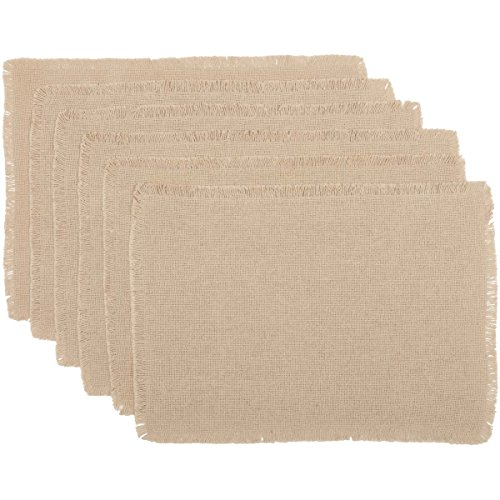 VHC Brands Farmhouse Holiday Tabletop & Kitchen - Burlap Vintage White Placemat Set of 6
