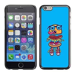 PC/Aluminum Funda Carcasa protectora para Apple Iphone 6 Plus 5.5 hamburger blue glasses fast food street / JUSTGO PHONE PROTECTOR