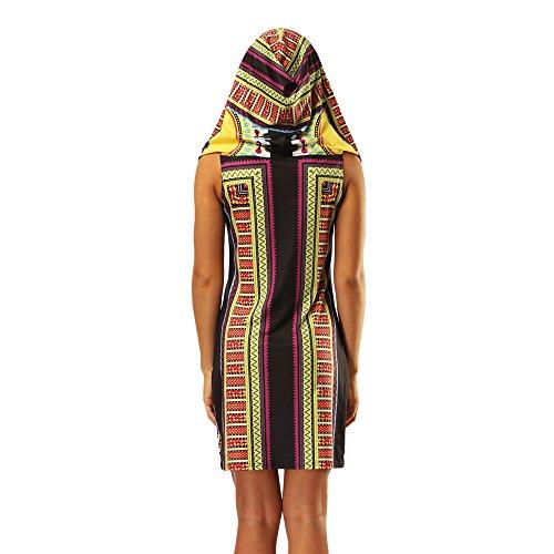 AMOMA Damen Hooded Mini Kleider Indie Folk Style National Wind ...