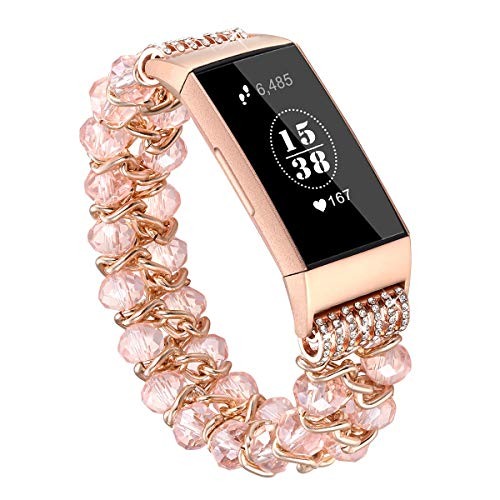 fastgo Compatible for Fitbit Charge 3 Bands, Handmade Elastic Beaded Jewelry Glitter Bracelet Feminine Band Compatible for Fitbit Charge Replacement Wrist Band for Women and Girls (Crystal Pink) ()
