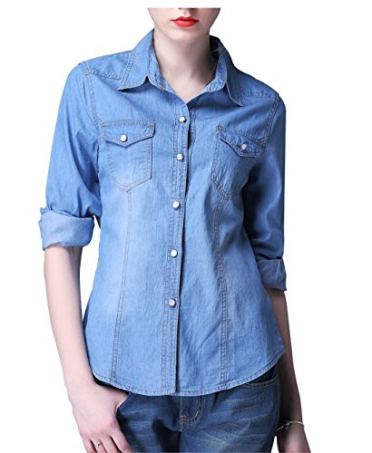 Yeokou Women's Classic Long Sleeve Button Down Denim Chambray Jean Shirt (XX-Large, Light Blue001) Button Down Shirt Jeans