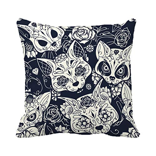 Batmerry Halloween/Thanksgiving Theme Decorative Pillow Covers 18 x 18 inch,Day Dead Colorful Sugar Cat Skull Floral Ornament Flower Tattoo Throw Pillows Covers Sofa Cushion Cover Pillowcase