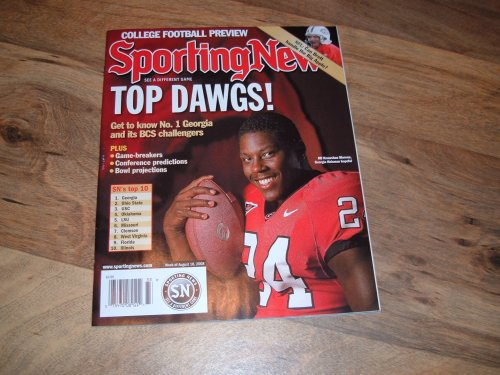 Sporting News~August 18, 2008 issue~College Football Preview issue~University of Georgia running back Knowshon Moreno on cover