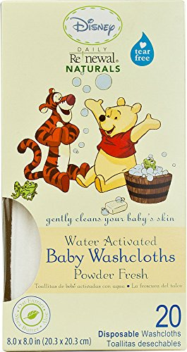 Disney Baby WINNIE THE POOH Daily Renewal Naturals® Baby Washcloths Powder Fresh, One 20-ct Box