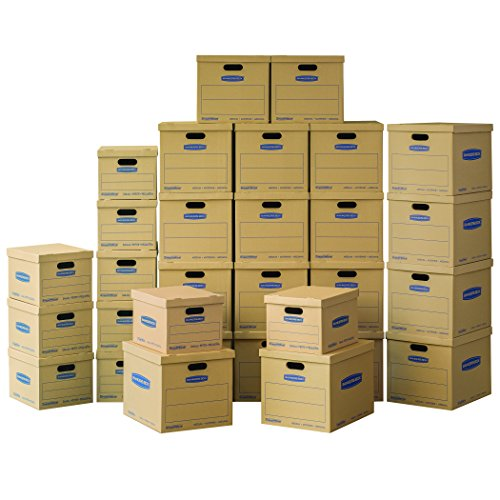 Bankers Box SmoothMove Classic Moving Boxes Value Kit, 10 Small/20 Medium Moving Boxes, 30-Pack, No Tape Required (7716601)