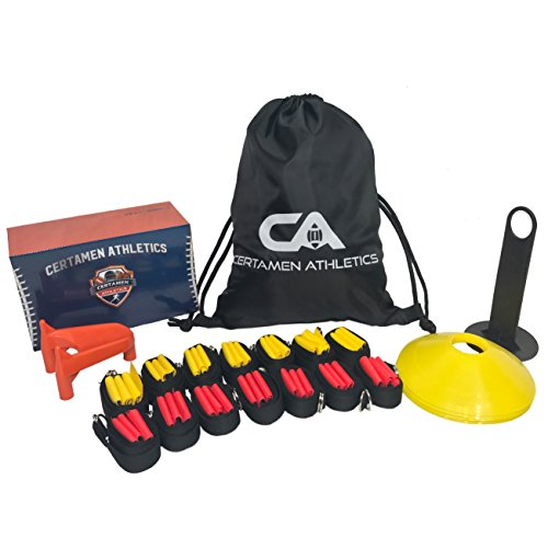 14 Player Flag Football Set – 65 Total Pieces, Football Flags For Kids And Adults, Youth Football Kit | Includes 14 Belts, 3 Flags Each, 6 Cones And Stand, Carrying Bag And a BONUS Kicking Tee