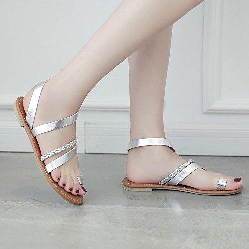 Orteil Cross Roman Femme Casual Chaussons Toe Plates Femmes Chaussures Sandales Argenté Soirée De Compensees Oyedens Ouvert Femme Été Pour Plage aS0pYvT
