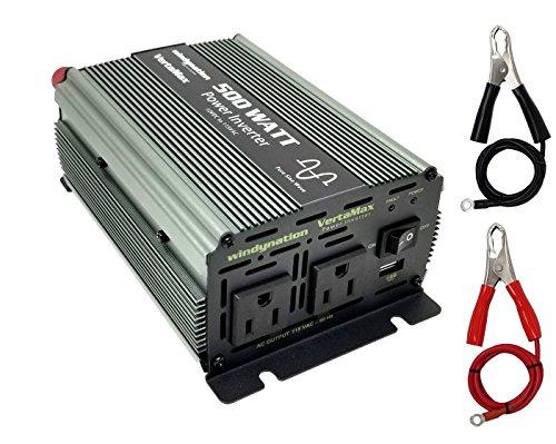 VertaMax Pure SINE Wave 500 Watt 1000W Surge 12V Power Inverter DC to AC Power – Solar, RV, Car, Off Grid