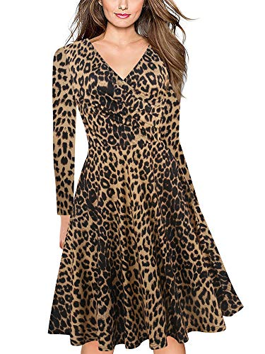 oxiuly Women's Vintage Classic Leopard Criss-Cross V Neck Full Sleeve Casual Party Midi Dress OX233 (L, Leopard Brown 9)