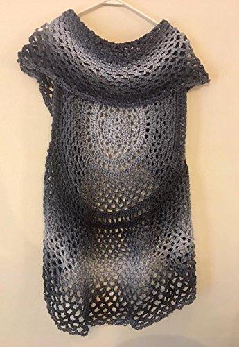 Amazoncom Womens Crochet Boho Circle Vest In Black Grey Size