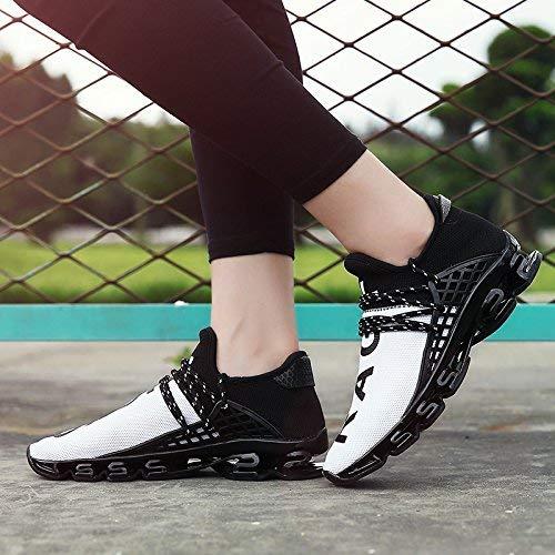 XIDISO Mens Running Shoes Womens Slip On Blade Mesh Fashion Men's Sneakers Athletic Tennis Sports Cross Training Casual Walking Shoe for Men White