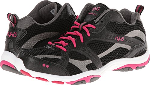 RYKA Women's Enhance 2 Cross-Training Shoe, Black/Zumba Pink/Metallic Steel Grey, 9.5 M US