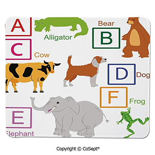 Gaming Mouse Pad,Alphabet Letters with Cute Zoo Animals Kids Fun Preschool Teaching Collection Decorative,for Computer,Laptop,Home,Office & Travel(15.74