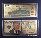 US President Donald Trump 2016 Gold Foil Novelty $1000 One Thousand Dollar Bill Banknote Plus plastic case and free Lucky Donk Sticker