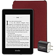 All-new Kindle Paperwhite Essentials Bundle including Kindle Paperwhite 32GB - Wifi with Special Offers, Amazon Leather Cover - Merlot, and Power Adapter