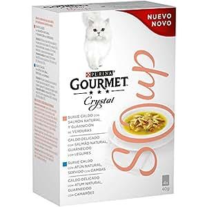 Purina Gourmet Crystal Soup comida para gatos con Salmón Natural y Verduras 10 x [4 x 40 g]: Amazon.es: Productos para mascotas