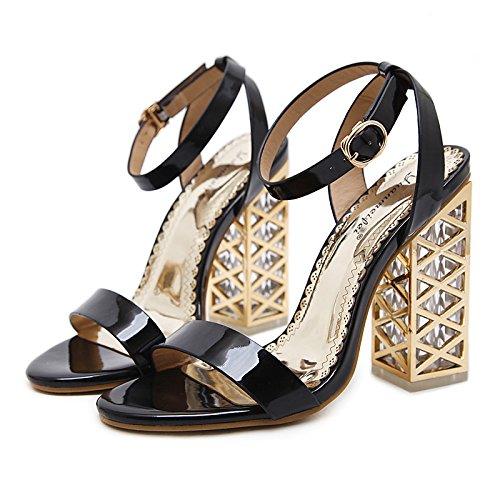 per similpelle stivali Chunky sandali informale Champagne Black nero Estate donna Primavera Comfort novità tacco serata partito ZHZNVX Scarpe Moda XEqwRx7zv