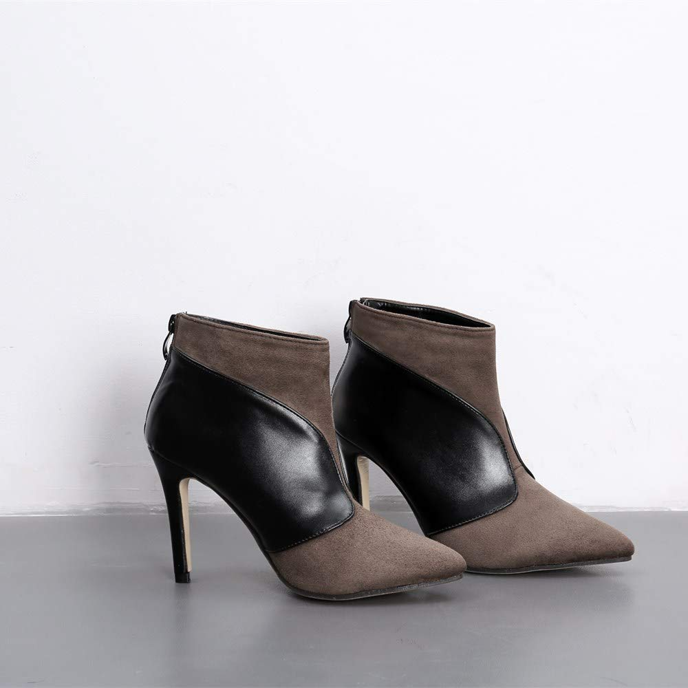 GoldGOD GoldGOD GoldGOD Damen High Heel Spitzen Leder Stiefelies Party Kleid Schuhe,braun,35 58ec3f