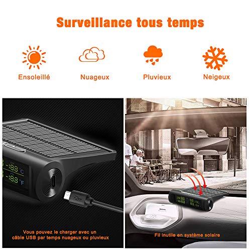 tpms voiture, ContrôLe de Pression des Pneus, Système de Surveillance de Pression des Pneus Auto, Solaire USB Rechargeable Sans Fil Surveiller en Temps Réel Alarme avec Ecran LCD 4 Capteurs Externes