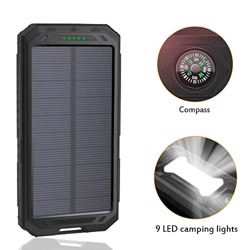 LANIAKEA 12000mAh Waterproof Solar Charger, 9 LED Lights Solar Battery Charger External Battery Pack, Dual USB Power Bank with Flashlight & Compass, Black by LANIAKEA