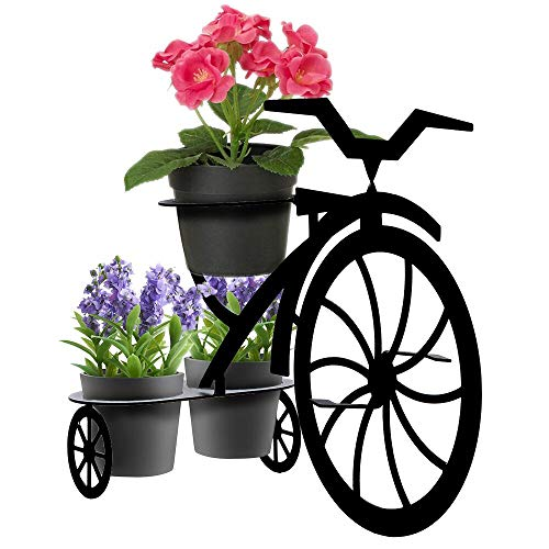 Lily's Home Tricycle Plant Stand - Bicycle Flower Pot Cart Holder, Ideal for Home, Garden, Patio - Great Gift for Plant Lovers, Housewarming, Mother's Day (Black) ()