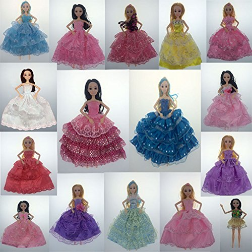 DSstyle 6pcs Princess Dress Wedding Party Outfits for 30cm barbie dolls without doll,six style (Juego De Galaxy Life Halloween)