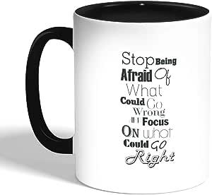 كوب سيراميك للقهوة، اسود، بطبعة عبارات باللغة الانجليزية