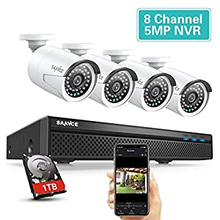 【Audio Recording】Expandable 5MP 8CH POE Security Camera System 4x2MP Surveillance Indoor Outdoor Cameras , 100FT Night Vision for 7/24 Recording , H.264+ to Save Storage , 1 TB Hard Drive Included