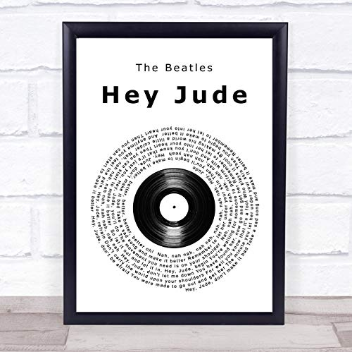 The Beatles Hey Jude Vinyl Record Song Lyric Quote Print ()